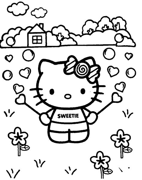 Hello Kitty Sweetie with Hearts and Flowers Colouring