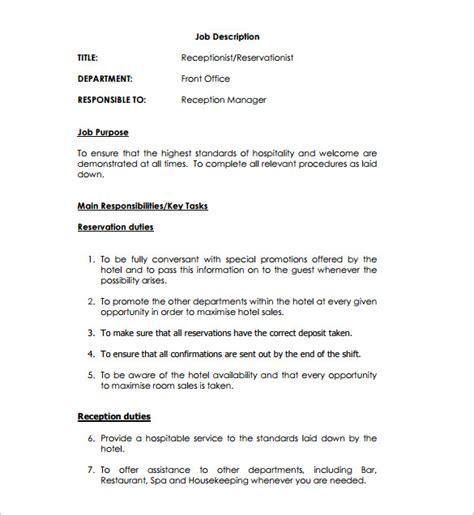 front desk medical receptionist job description receptionist job description template 9 free word pdf