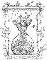 Coloring Pages Adult Cool Books Hourglass sketch template