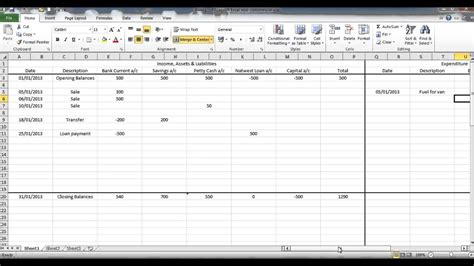 accounting  excel format