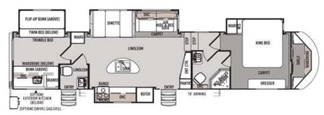 forest river campers bunkhouse king bed   bath  wheel floor plans google search