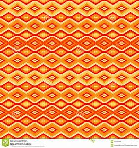 Orange Seamless Pattern With Geometric Motifs Royalty Free ...