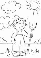Farmer Cartoon Coloring Pitchfork Drawing Pages Printable Getdrawings Version Work sketch template