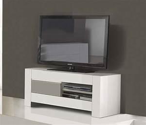 Petit Meuble Tele : petit meuble t l gris et blanc pour salon design ~ Teatrodelosmanantiales.com Idées de Décoration