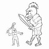Goliath David Coloring Pages Ones Bible Little Biblical Sling Down War Threw Stone sketch template