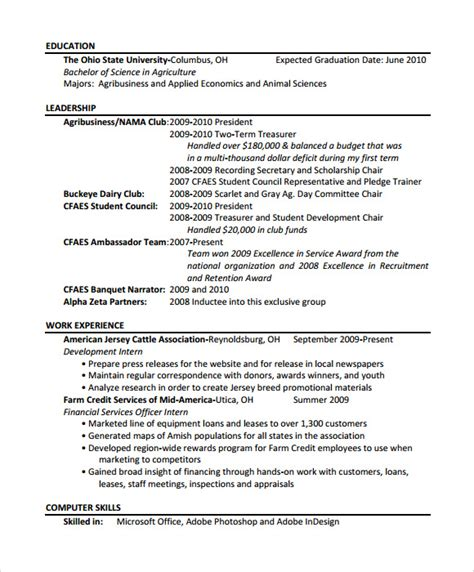 Agriculture Resume Objective by Agriculture Resume Template 7 Free Documents