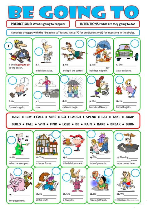 Be Going To For Future Intentions & Predictions Worksheet  Free Esl Printable Worksheets Made