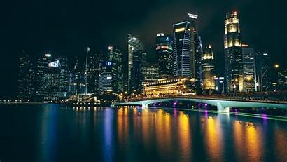 Night Buildings Reflections Background 4k Laptop Tablet