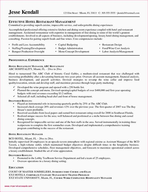 Restaurant Manager Resume Objective by 66 Beautiful Photos Of Sle Resume For Restaurant