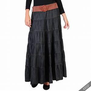 Womens Ladies Tiered Casual Boho Vintage Belt Denim Maxi Skirt Pleated Flared | eBay