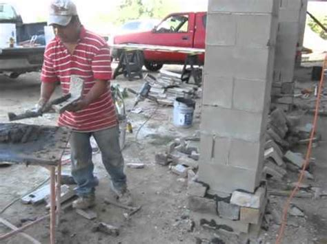 stone veneer applied  concrete block columns youtube