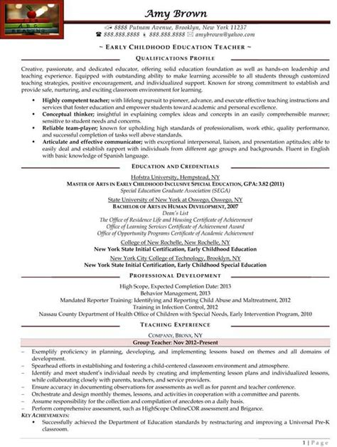 resume format early childhod education early childhood education resume sle resume