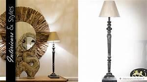 Lampe Haute Sur Pied : lampe haute de style classique en bois tourn noir et vieilli 89 cm int rieurs styles ~ Teatrodelosmanantiales.com Idées de Décoration