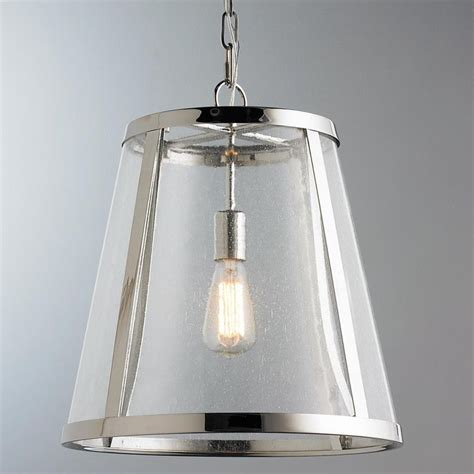 Seeded Glass Transitional Pendant  Medium  Clearly