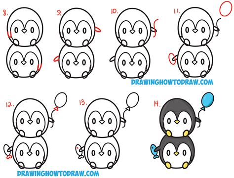 Art for kids step by step. How to Draw Cute Kawaii Penguins Stacked from #8 with Easy ...