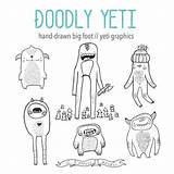 Bigfoot Clipart Yeti Cute Clip Hand Drawn Monster Vector Doodle Digital Eps Coloring Pages Etsy Illustrated Woodland Animals Silhouette Holiday sketch template