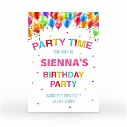 Birthday Party Invitation Balloons Invitations Personalised Coloured