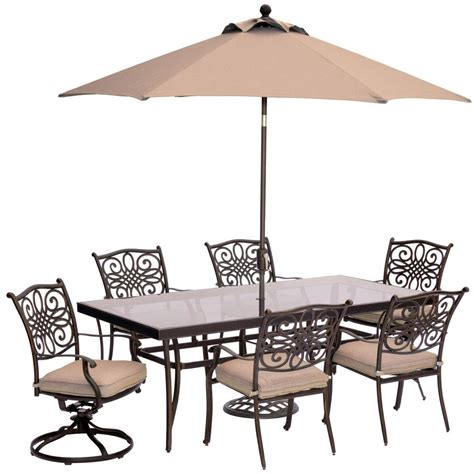 7 Patio Dining Set With Umbrella by Hanover 7 Outdoor Dining Set With Rectangular Glass