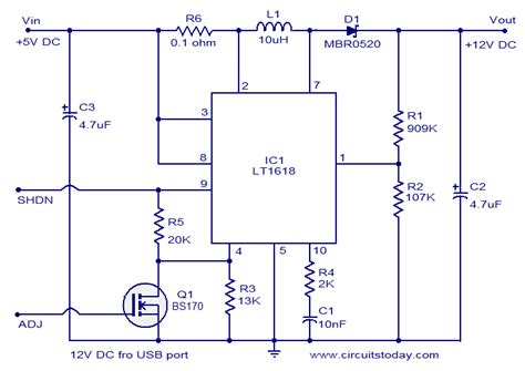 12 Volt Dc Wiring Diagram by 12 Volt Dc Power Supply From Usb Port Circuit Schematic