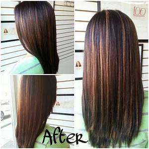 long straight dark brown hair with caramel highlights ...