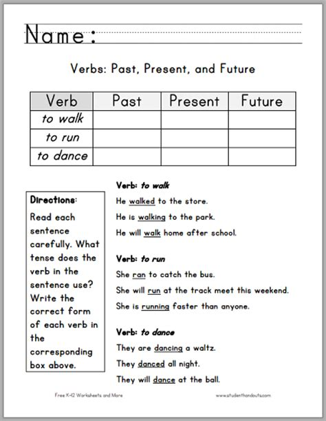 verbs past present future five free printable ela worksheets for first grade
