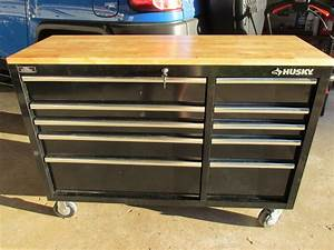 Husky 52 in 10-Drawer Mobile Workbench with Solid Wood