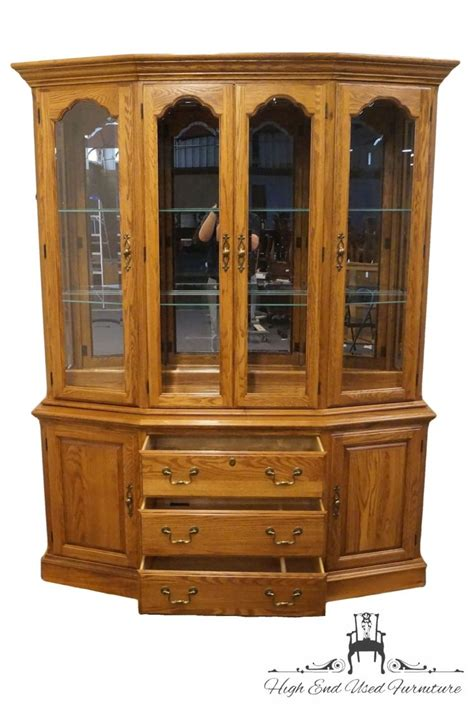 oak china cabinets for high end used furniture pennsylvania house solid oak 65