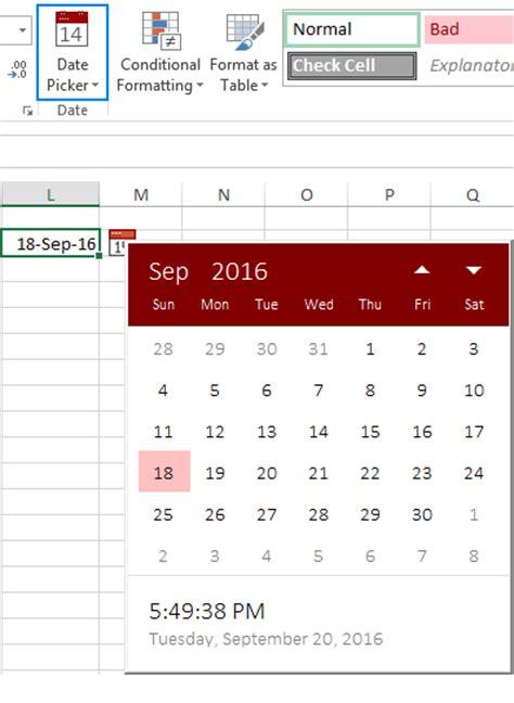 put a date picker calendar on an excel worksheet 2013 inserting calendar drop in excel 2016 calendar