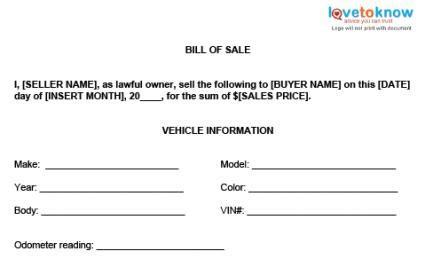 bill  sale templates lovetoknow
