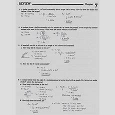 Projectile Motion Worksheets With Answers