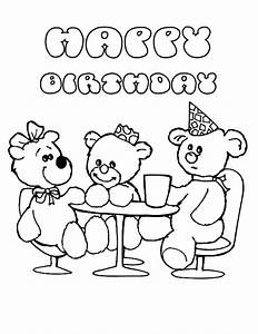 Happy Birthday Teddy Bear Coloring Page