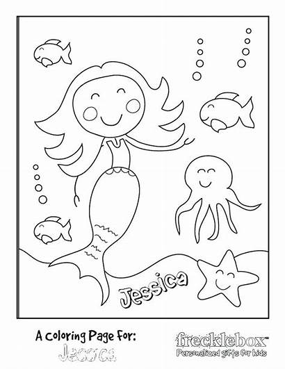 Coloring Pages Personalized Mermaid Custom Printable Party