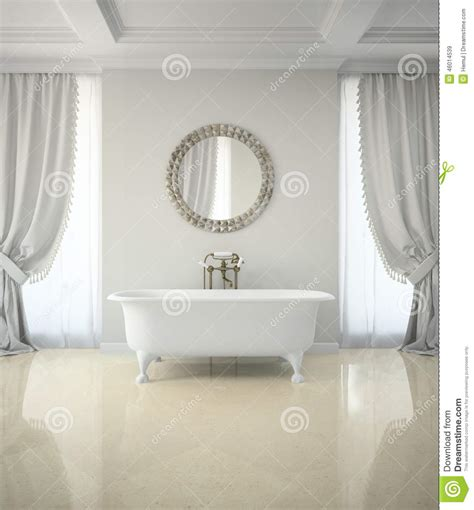 interior of classic bathroom with curtains mirror 3d