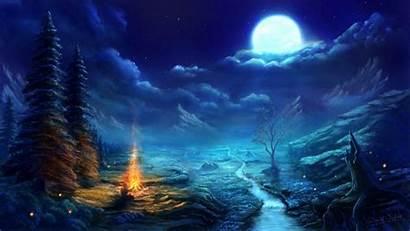 Anime Moon Night Scene Amazing Resolution Wallpapers