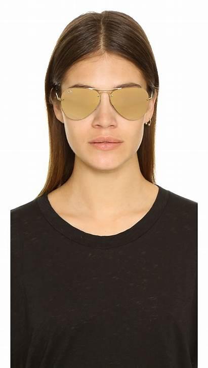 Ban Aviator Ray Sunglasses Mirrored Highstreet Brown