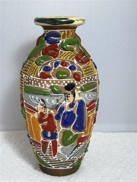 Colorful Vases by Colorful Vintage Japanese Moriage Miniature Vase 4 3 4 Quot Ebay