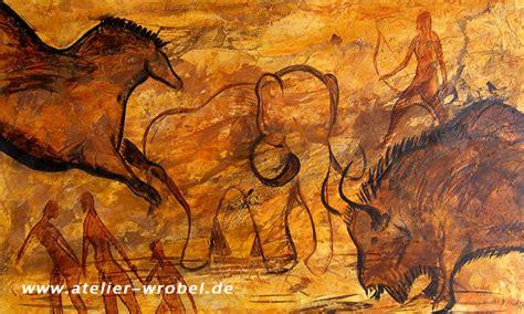 acryl auf leinwand malerei jagd praehistorisch caveart