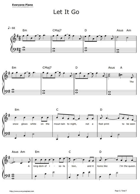 free let it go easy version frozen theme sheet music
