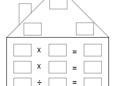 math fact family house template   worksheets image
