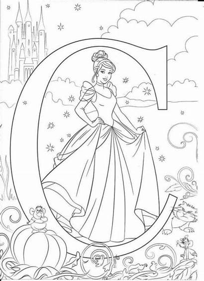 Alphabet Coloring Disney Letters Printable Sheets Cinderella