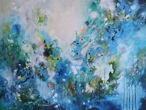 Large, Original, Green, And, Blue, Abstract, Expressionist