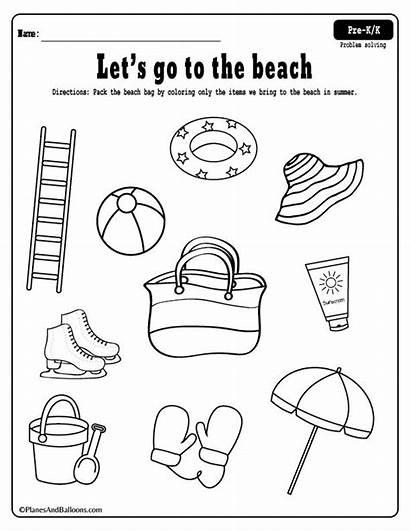 Beach Coloring Printable Fun Worksheets Preschool Summer