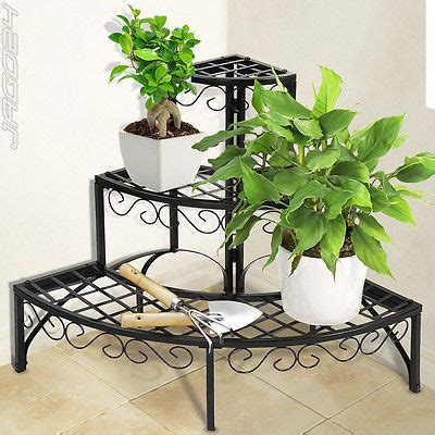 iron plant stand shelf  tier garden patio indoor corner