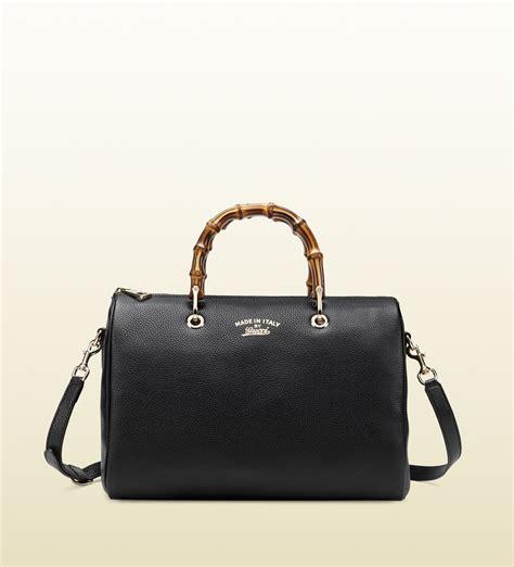 Gucci Bamboo Shopper Leather Boston Bag in Black (bamboo