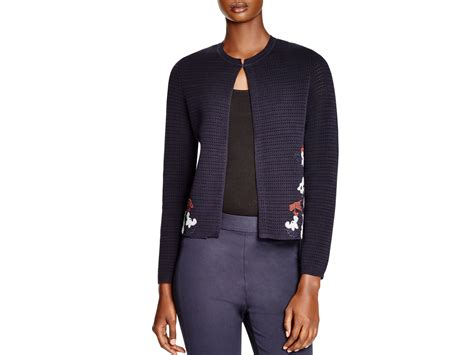 Tory Burch Floral Knit Cardigan In Blue