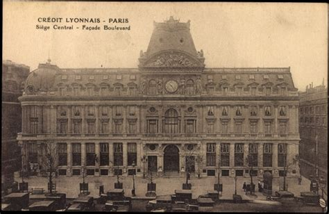 credit lyonnais siege postcard cpa 75 crédit lyonnais siège central