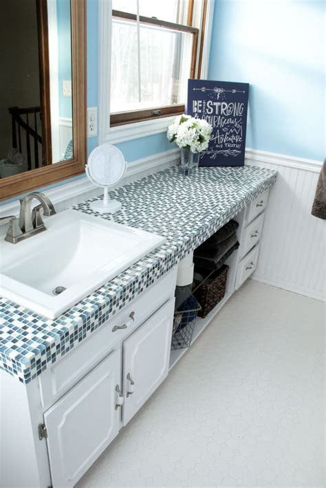 Tile Countertops by How To Paint Tile Countertops And Our Modern Bathroom