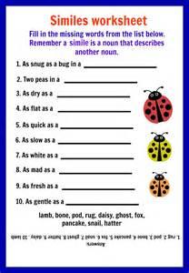 Figurative Language Worksheets 5th Grade Similes Worksheet Davezan