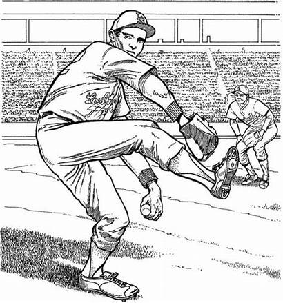 Coloring Baseball Pages Dodgers Pitcher Los Angeles