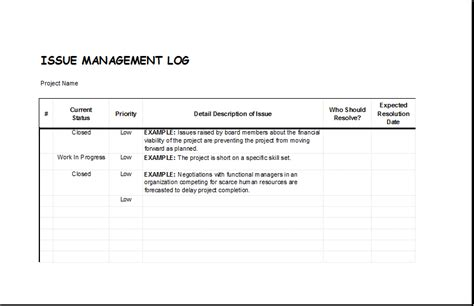 Issue Management Log Template For Excel